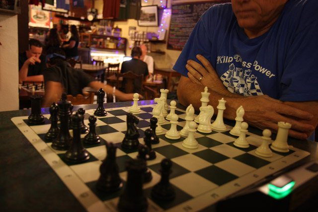 Playing Chess at Macy's coffee shop in Flagstaff